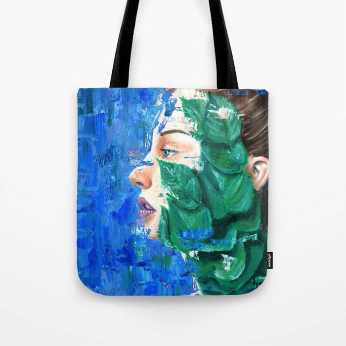 Leaves and face Tote Bag