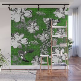 Birds Green Gray White Toile Wall Mural