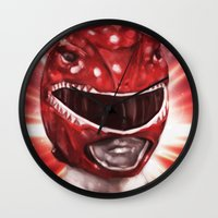 power ranger Wall Clocks featuring Red Power Ranger by SachsIllustration