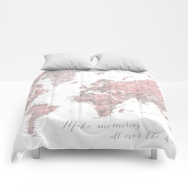 Make memories - Dusty pink and grey watercolor world map, detailed Comforters