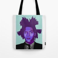 basquiat Tote Bags featuring Basquiat by Grace Teaney Art