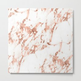 Rose Gold Marble - Perfect Pink Rose Gold Marble Metal Print