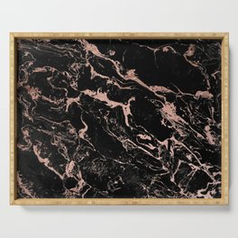 Modern girly faux rose gold foil black marble Serving Tray