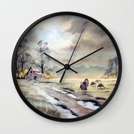 Grazing Turkeys Wall Clock