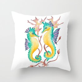 Seahorses In The Seaweed Throw Pillow