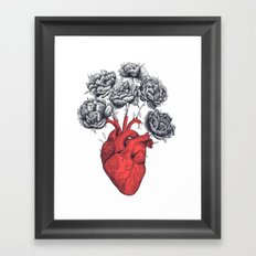 Heart with peonies Framed Art Print