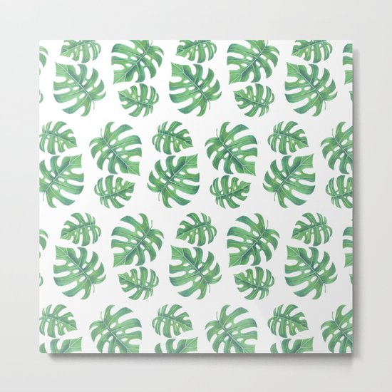 Tropical pattern with monstera leaves Metal Print