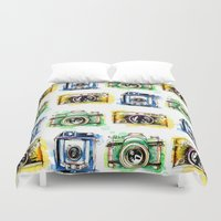cameras Duvet Covers featuring Vintage Cameras by Abby Diamond