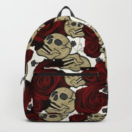 Red Roses & Skulls Black Floral Gothic White Backpack