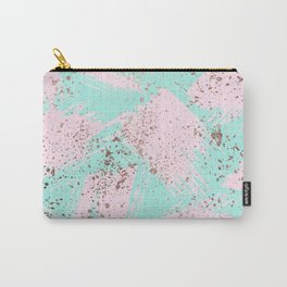 Rose Gold Paint Splatter Blush Pink Brushstrokes Carry-All Pouch