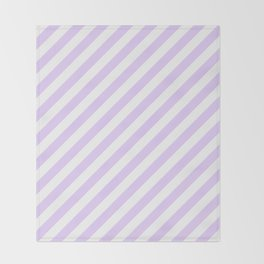 Chalky Pale Lilac Pastel and White Candy Cane Stripes Throw Blanket