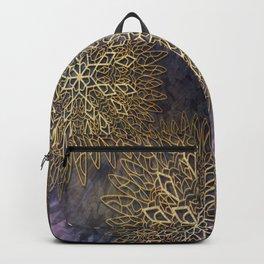 Gold Mandalas on Violet Background Backpack