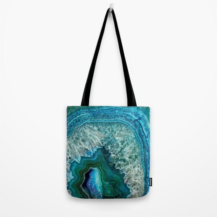 Aqua turquoise agate mineral gem stone- Beautiful Backdrop Tote Bag