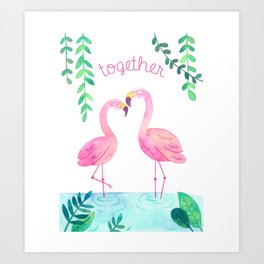 Pink Flamingos Together in the Jungle Art Print