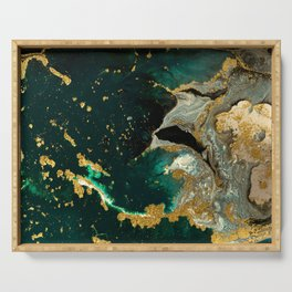 Abstract Pour Painting Liquid Marble Abstract Dark Green Painting Gold Accent Agate Stone Layers Serving Tray