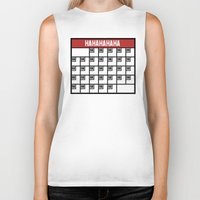 calendar Biker Tanks featuring The Laughing Calendar by Josh LaFayette