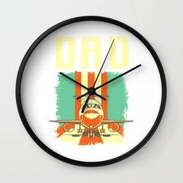 Retro Airplane Pilot Dad Plane Aviation Father Wall Clock