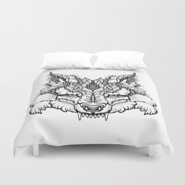 WOLF head. psychedelic / zentangle style Duvet Cover