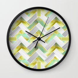 Parquetry in Watercolour - Acid Green Wall Clock