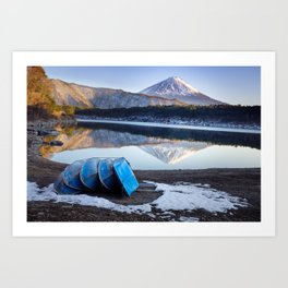 Blue Boats at Mount Fuji Art Print