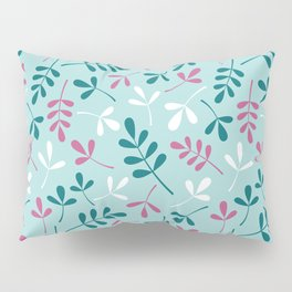 Assorted Leaf Silhouettes Teals Pink White Pattern Pillow Sham