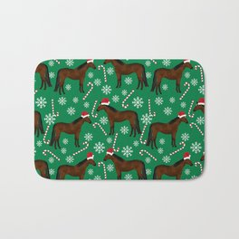 Horse Christmas - christmas, xmas, peppermint, candy cane, red and green, snowflake, holiday, horse Bath Mat