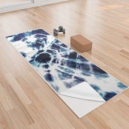 Tie Dye Sunburst Blue Yoga Towel