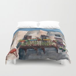 Herbs and blossom on Rhodian balcony Duvet Cover