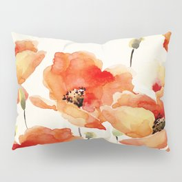 Poppy Flower Meadow- Floral Summer lllustration Pillow Sham