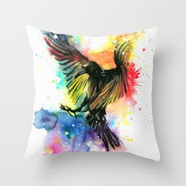 The colourful crow Throw Pillow