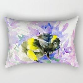 Bumblebee and Lavender Flowers, nature bee honey making decor Rectangular Pillow