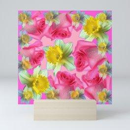 PINK ROSES & DAFFODILS SPRING GARDEN ART Mini Art Print