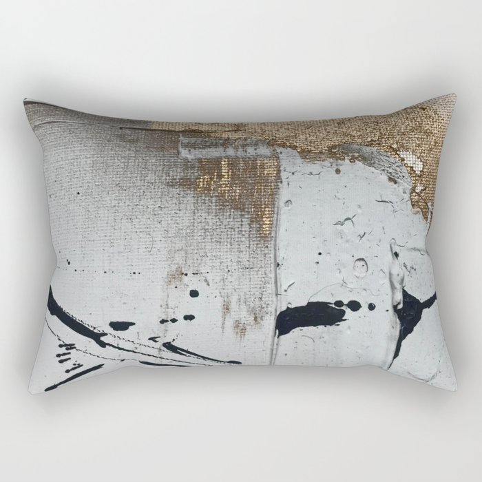 Still: an abstract mixed media piece in black, white, and gold by Alyssa Hamilton Art Rectangular Pillow