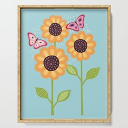 Yellow sunflowers and butterflies Serving Tray