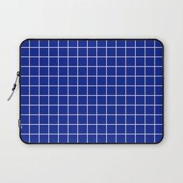 Indigo dye - blue color - White Lines Grid Pattern Laptop Sleeve