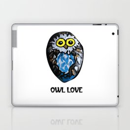 Owl Love Rock Painting on River Rock by annmariescreations Laptop & iPad Skin