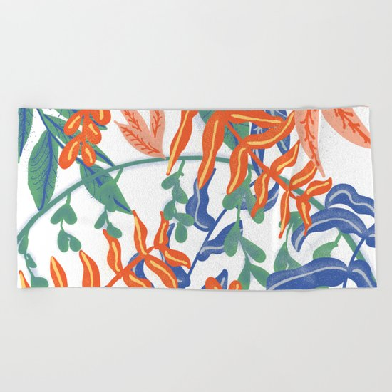 Abstract Tropical Pattern Beach Towel