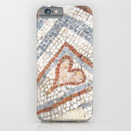 Mosaic Heart | Cute Red Blue and White Tile Old World Charming Decorative Cool Stone Photograph iPhone Case