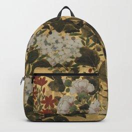 Flowers & Grapes Vintage Japanese Floral Gold Leaf Screen Backpack