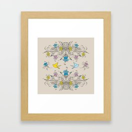 Shabby Chic vintage lily flowers bouquet and birds 2 Framed Art Print