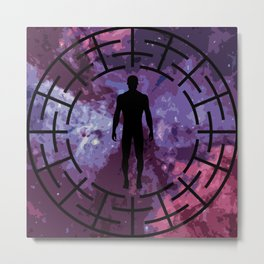 Black labyrinth man silhouette Metal Print