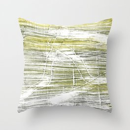 Moss green abstract watercolor Throw Pillow