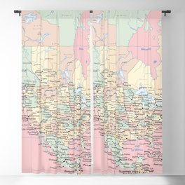 World Map North America Blackout Curtain