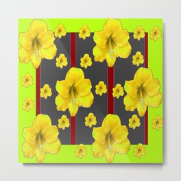 LIME-GREY YELLOW AMARYLLIS BLACK-RED DECO ART Metal Print