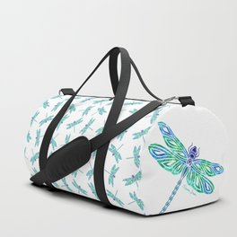 Tribal Dragonfly Blues and Greens Duffle Bag
