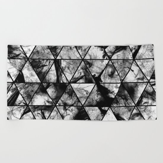 Triangular Whispers - Black and white, geometric abstract Beach Towel
