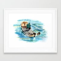 otter Framed Art Prints featuring Otter by Anna Shell