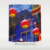 lanterns Shower Curtains featuring Chinese Lanterns by Vikki Skye
