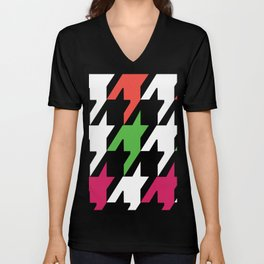 Jumbo Scale Neon Colors Houndstooth Pattern Unisex V-Neck