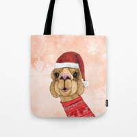 alpaca Tote Bags featuring Alpaca Christmas by Barruf